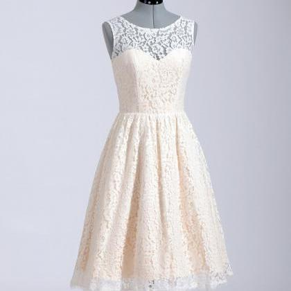 Princess champagne lace short wedding dress high neck for Champagne lace short wedding dress