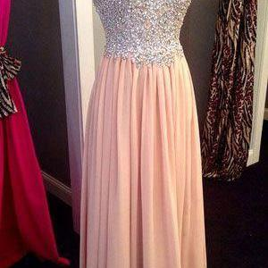 Pink Chiffon Prom Dress,Long Prom D..