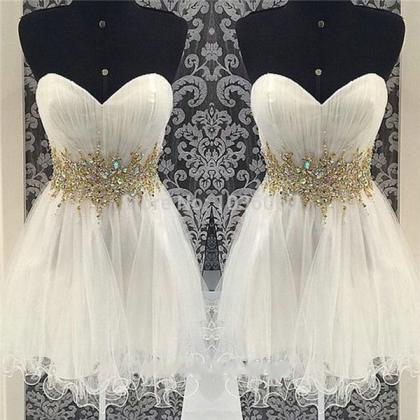 Gold Beaded Ivory Tulle Homecoming ..