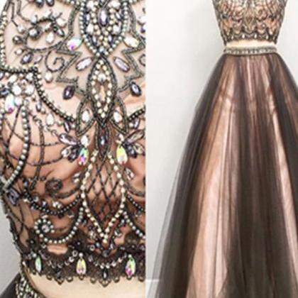 Two Pieces Prom Dresses,Beading Pro..