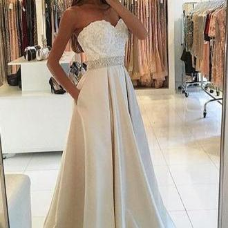 Sweetheart Prom Dresses, Ivory Prom..