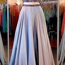 Two Pieces Prom Gown,Beading Prom D..