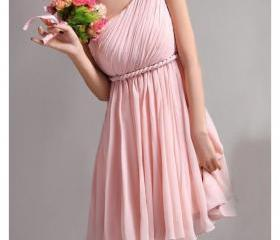 Simple Pink Chiffon Short Bridesmaid Dress Above Knee