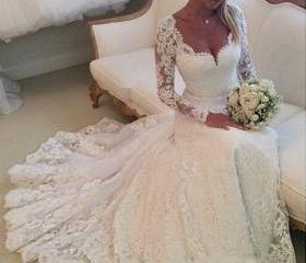 A line princess lace wedding dresses long sleeves bridal for Cheap wedding dresses in ct