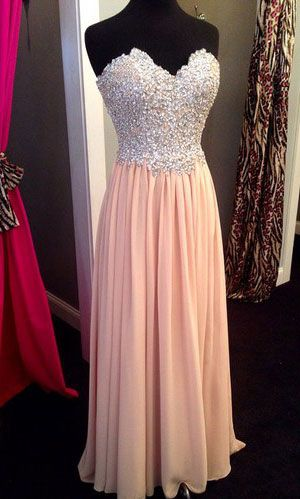 Pink Chiffon Prom Dress,Long Prom Dress,Cheap Prom Dress,A Line Sweetheart Prom Dresses,Blush Beadings Evening Prom Gowns,Custom Made Graduation Dress