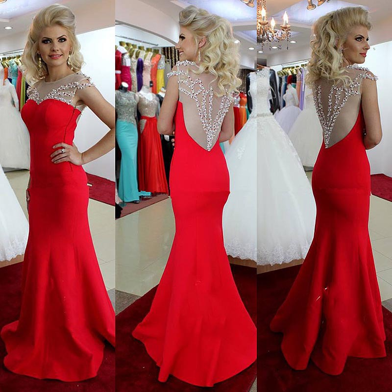 Cap Sleeves See Through Back Red Mermaid Long Prom Dresses ...