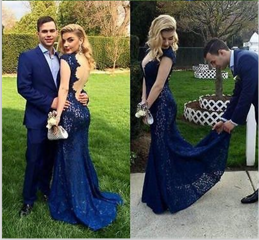 Cap Sleeves Navy Blue Lace Prom Dresses,V Neck Backless Mermaid ...