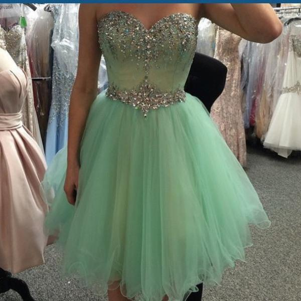 A line sweetheart mint tulle homecoming dresses short prom for Short fluffy wedding dresses