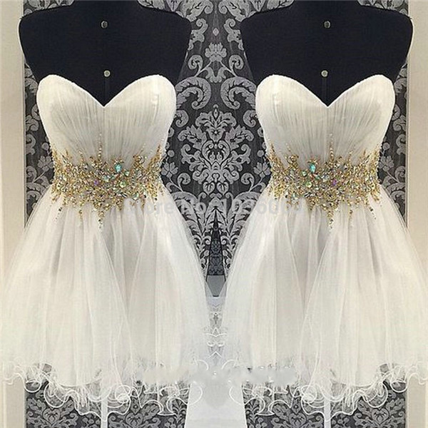 Gold Beaded Ivory Tulle Homecoming Dresses ,A Line Sweetheart Short Prom Dresses Homecoming Dress,Cheap Short Prom Gowns Cocktail Dress,Wedding Party Gown For Sweet 16 Dresses,Mini Length Skirt Cute Dresses