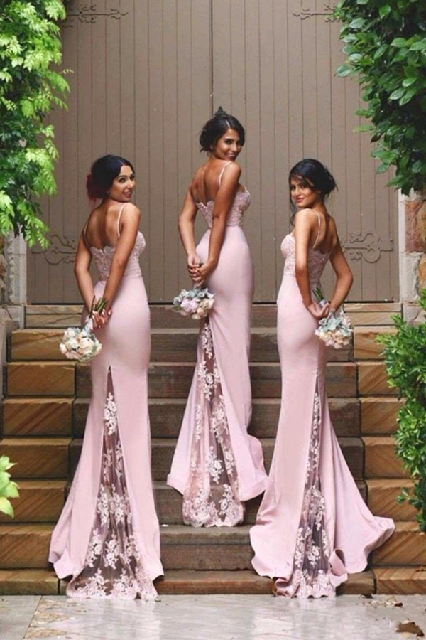 New Arrival Pink Bridesmaid Dresses 2017,Spaghetti Straps Lace Bridesmaid Dress,High Quality Mermaid Bridesmaid Dresses,See Through Back Bridesmaid Gowns,Custom Made Wedding Party Dress,Long Bridesmaid Dress,Prom Dresses