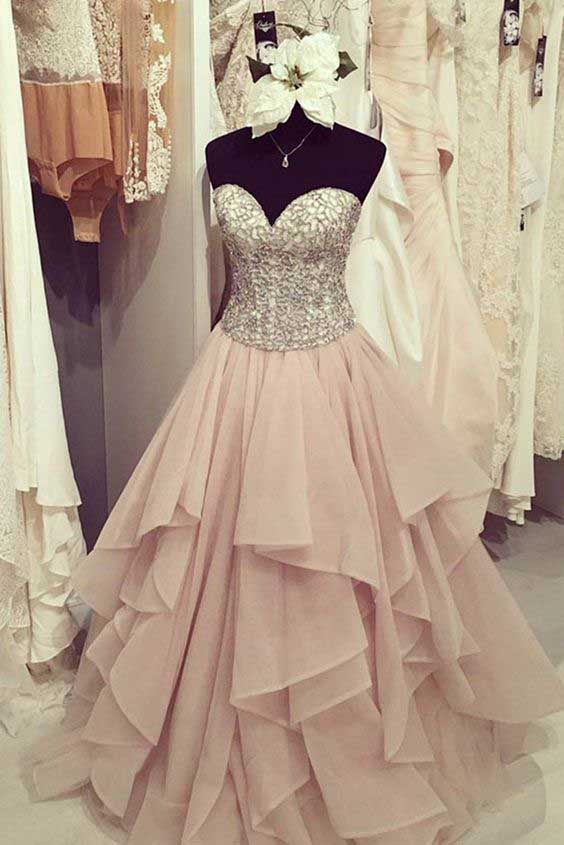 Sweetheart Prom Dresses, Beading Prom Dress, Chiffon Prom Gown, Tiered Prom Dress, Cute Party Dresses, Long Formal Dresses, Prom Dress