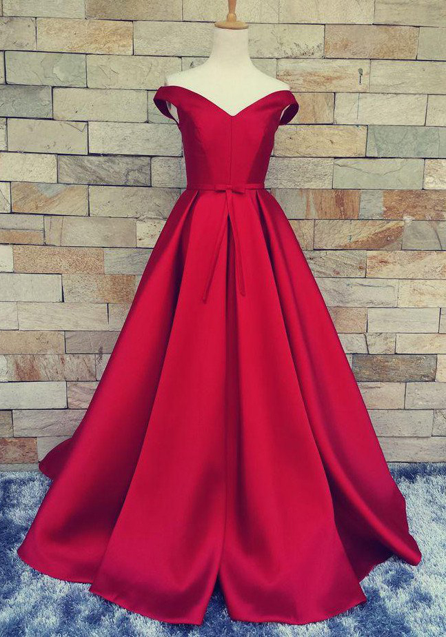 Off the Shoulder Prom Dresses, Red Prom Dresses, Satin Prom Gowns, Long Evening Dresses, A Line Prom Dress, Red Evening Dress, Ball Gown Prom Dress, Prom Dress