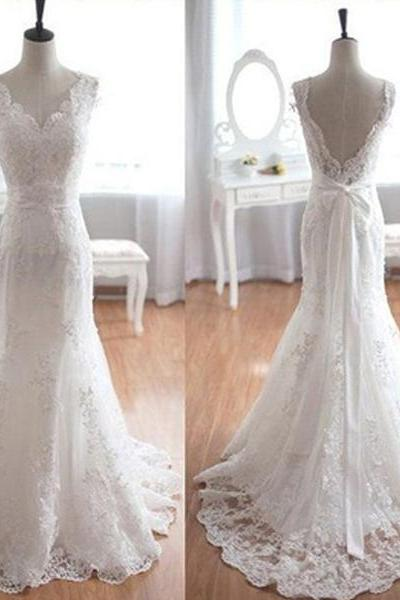 Popular Wedding Dresses, Elegant Wedding Dresses, V-Neck Wedding Dresses, Long Wedding Dresses, Mermaid Wedding Dresses, White Lace Bridal Gown, Wedding Party Dresses, Wedding Dresses