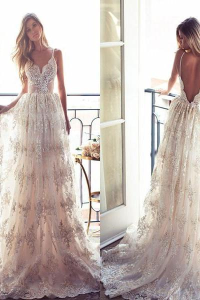 2017 Wedding Dresses,A-line Wedding Dresses,Long Wedding Dress,Spaghetti Straps Wedding Dresses,Sexy Wedding Dress,Lace Bridal Gown, Wedding Party Dress,Wedding Dress