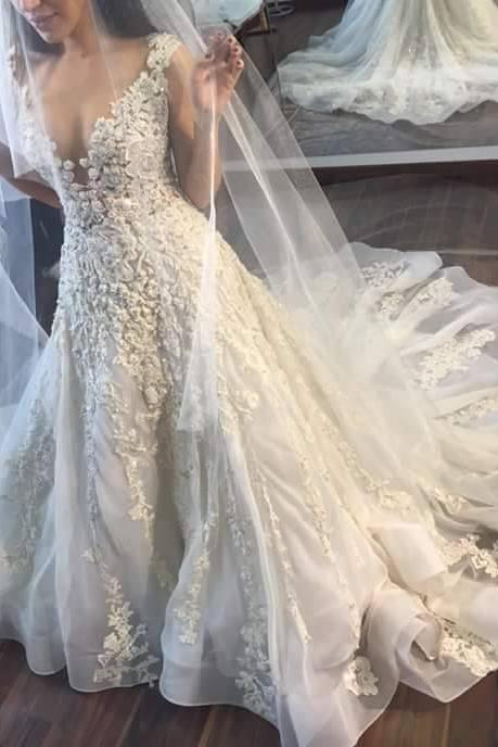 Floral Lace Appliques Plunge V Cap Sleeves Floor Length Tulle Wedding Gown Featuring Train