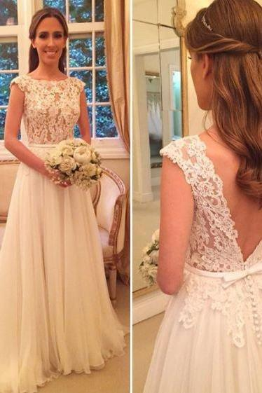 Ivory Wedding Dresses,Lace Wedding Dress,Appliqued Wedding Dress,Bodice Bridal Dresses,Chiffon Beach Wedding Dress with Cap Sleeves,A Line Wedding Dresses,Wedding Dress