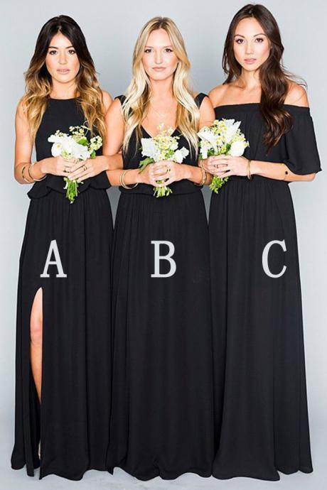 Long Mismatched Chiffon Floor Length Black Bridesmaid Dress