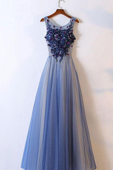 Blue Prom Dresses,tulle Prom Dresses, round neck Prom Dress,long prom dress, tulle evening dresses,Appliqued Prom Dresses,A Line Prom Gown,Prom Dress