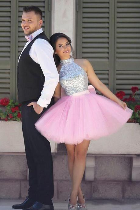 Lovely Prom Dresses,Pink Homecoming Dress,Short Homecoming Dresses High Neck Dresses,Sequins Homecoming Dresses,Silver Puffy Skirt Cocktail Party Dresses,Sparkly Prom Dresses