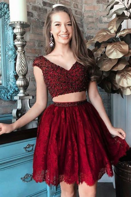 Two Pieces Homecoming Dresses,Burgundy Homecoming Dresses,Beaded Homecoming Dresses,Lace Homecoming Dresses,Short Prom Dresses,2 Pieces Party Dresses