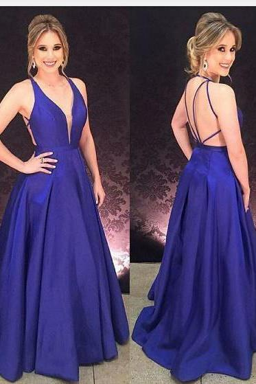 Elegant Prom Dress,Long Prom Dress,Regency Prom Dress,A Line Prom Dresses,Royal Blue Prom Dress,V Neck Evening Dress