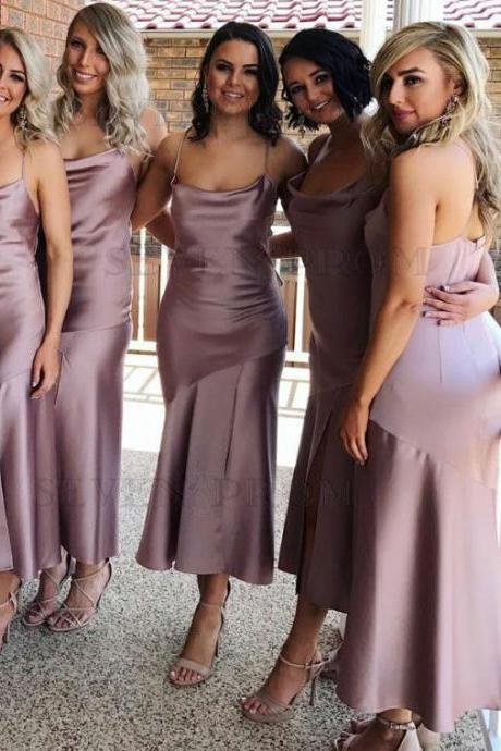 Pink Spaghetti Strap Long Satin Bridesmaid Dress