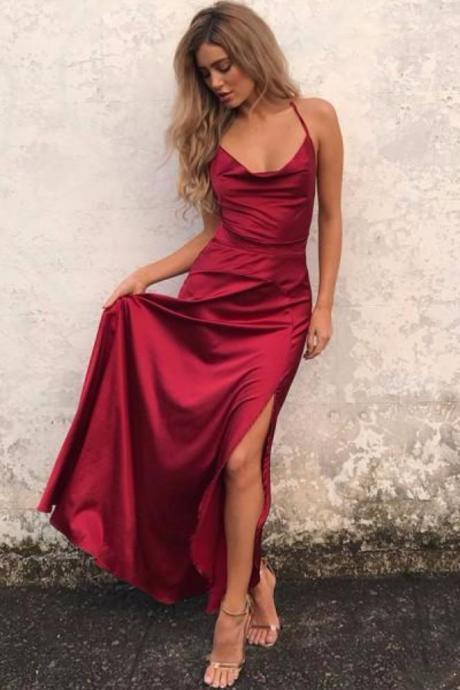 Simple Prom Dresses,Sheath Prom Dress,Spaghetti Straps Prom Dresses,Split Front Prom Dress,Burgundy Prom Dresses,Long Prom Dress DS110