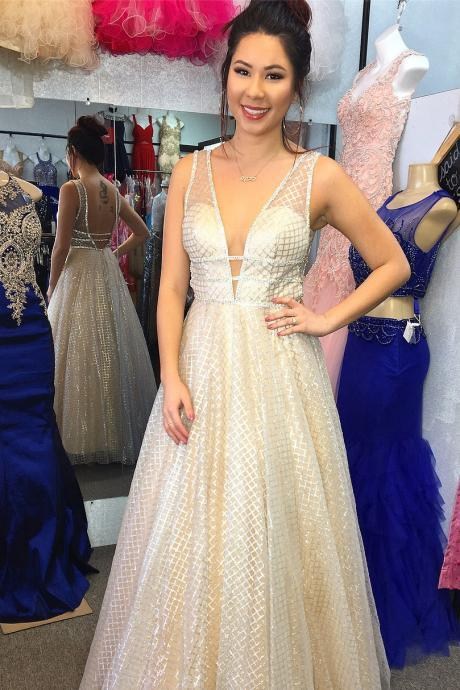 Gorgeous Prom Dresses,A-line Prom Gown,V Neck Prom Dress,Long Formal Dress DS196