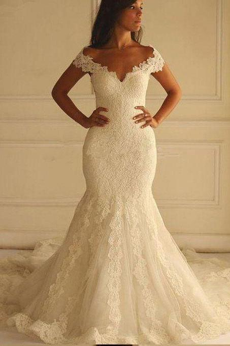 Ivory Wedding Dresses,Lace Wedding Dress,Mermaid Wedding Dresses,Long Bridal Dresses,Off the Shoulder Bridal Gown PD301