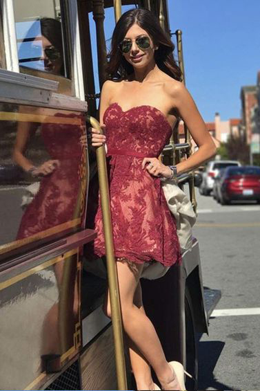 A-Line Homecoming Dress,Sweetheart Homecoming Dresses,Burgundy Homecoming Dress,Short Prom Dresses,Lace Cocktail Dress DS380