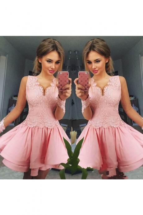 Pink Homecoming Dress,V neck Homecoming Dresses,Lace Appliques Homecoming Dresses,Short Homecoming Dresses,Graduation Dresses,Cocktail Party Dress DS388