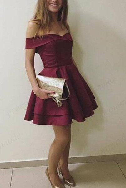 Burgundy Homecoming Dress,Off-the-Shoulder Prom Dresses, A-Line Short Party Dresses,Simple Homecoming Dresses DS391