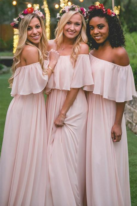 Simple Bridesmaid Dress,Pink Bridesmaid Dresses,Off the Shoulder Bridesmaid Dress,Long Bridesmaid Dresses DS526
