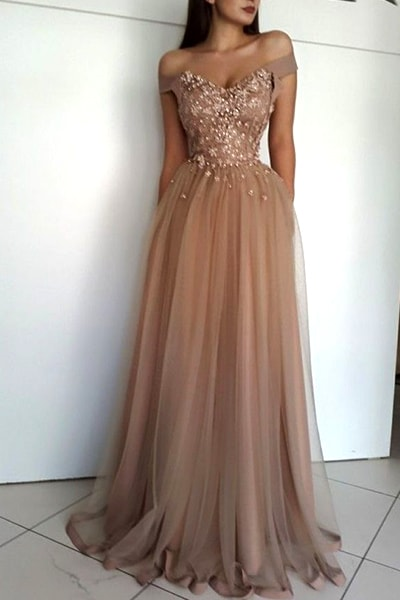 Off the Shoulder Prom Dresses,Beading Prom Dress,Long Prom Dress,Tulle Prom Dresses,A Line Evening Dress DS528