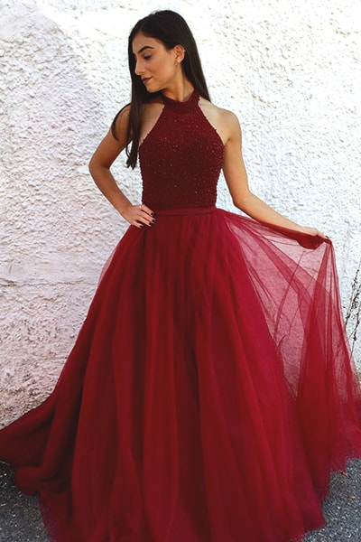 Burgundy Prom Dresses,A Line Prom Dress,Tulle Prom Dress,Beaded Prom Dresses,Formal Evening Dress DS530