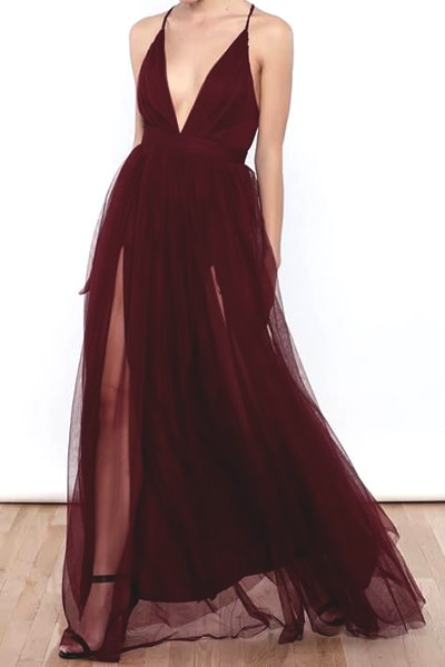 Spaghetti Straps Prom Dresses,Burgundy Prom Dress,Tulle Prom Dress,A Line Prom Dresses,Long Prom Gown DS540