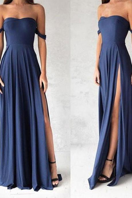 Blue Prom Dresses,Strapless Prom Dress,Simple Prom Dress,Sexy Prom Dresses,Split Prom Gown DS549