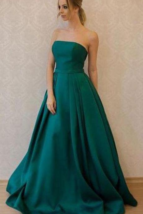 Simple Prom Dress,A-Line Strapless Prom Dresses,Green Prom Dresses,Satin Prom Dress,Floor Length Evening Dress DS559
