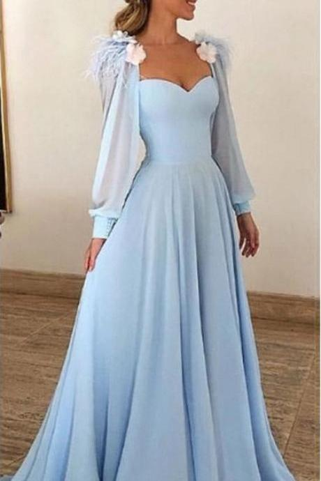 Light Blue Prom Dress,Long Sleeves Prom Dresses,Sweetheart Prom Dress,A Line Long Prom Dresses DS560