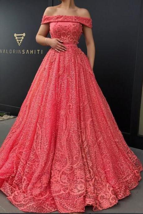 Off the Shoulder Prom Dresses,Lace Party Dresses,Sexy Graduation Dress,Watermelon Prom Gowns DS562