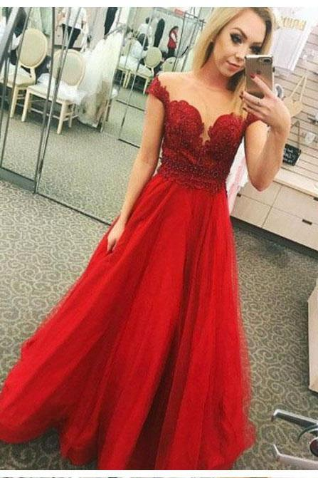 Red Prom Dresses,Applique Prom Gown,Tulle Prom Dress,Short Sleeve Prom Dresses,Beaded Formal Gowns DS566