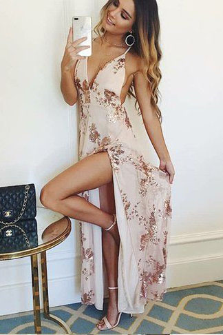 Sexy Prom Dresses,Deep V-neck Prom Dress,Lace Prom Dresses,Sparkly Prom Dress,A-Line Slit Prom Dresses DS569