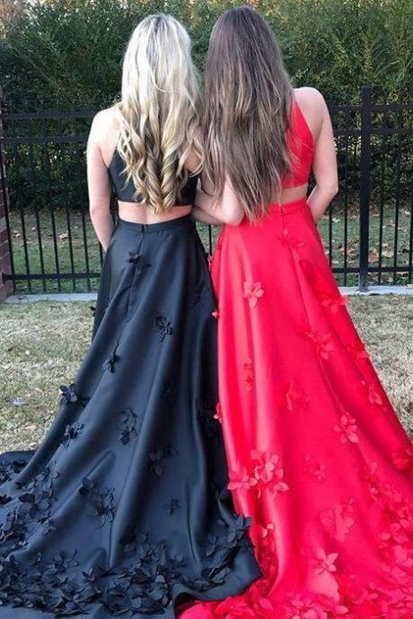 Black and Red Prom Dresses,Two Pieces Prom Dress,A-Line Prom Dresses,Applique Prom Dresses,Long Prom Dress DS571