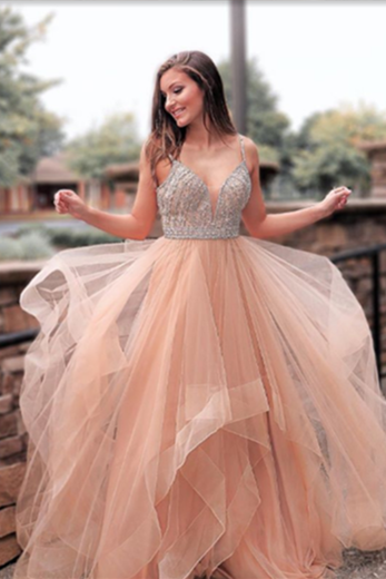 Ball Gown Prom Dress,Beaded Prom Dresses,Long Prom Dress,Tulle Prom Dresses DS572
