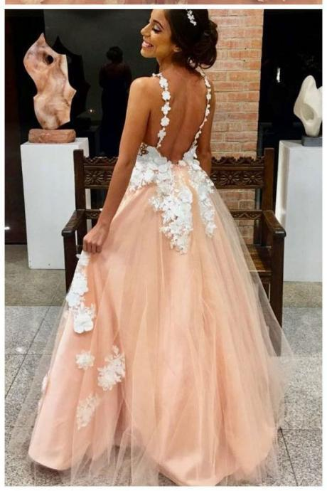 A Line Prom Dresses,Lace Appliques Prom Gown,Backless Prom Dress,Long Evening Dresses DS573