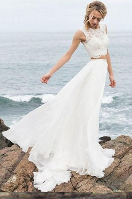 A-Line Wedding Dress,Scoop Neckline Wedding Dresses,Two Pieces Wedding Dress,Chiffon Wedding Dress,Long Beach Wedding Dresses DS580