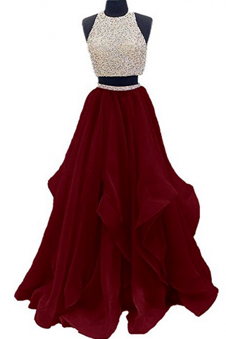Two Piece Prom Dresses,Floor Length Prom Dress,Burgundy Prom Dress,Beaded Evening Gown DS582