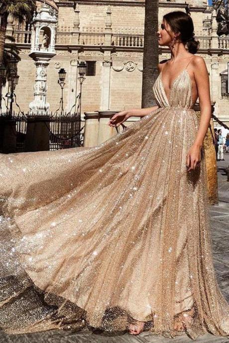 Charming Prom Dresses,A Line Prom Dress,Spaghetti Straps Prom Dresses,Sequin Prom Dress DS605