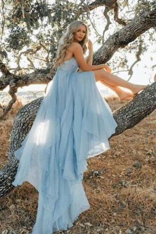Sky Blue Prom Dresses,Beach Simple Wedding Dresses,Chiffon Long Prom Dress DS615
