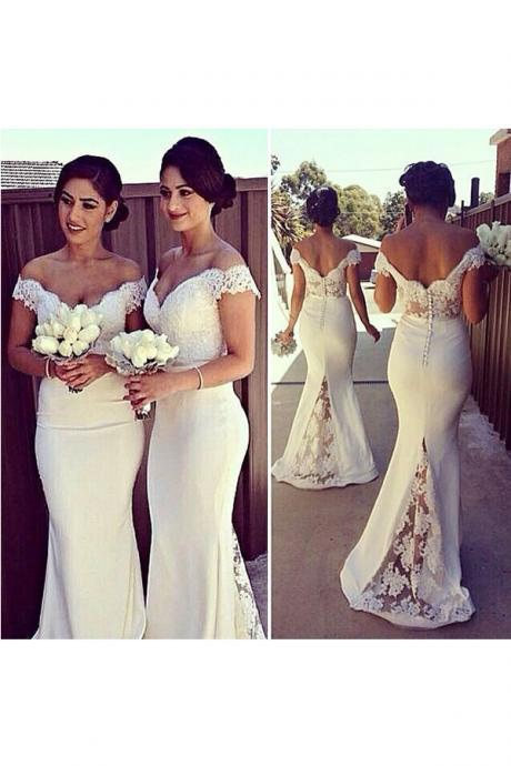 Short Sleeves White Lace Mermaid Bridesmaid Dresses,V Neck Backless Sexy Long Bridesmaid Dress,Open Back Bridesmaid Gowns,Prom Dresses